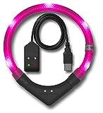 Leuchtie LED Leuchthalsband Plus Easy Charge hotpink Größe 40 USB Akku LED Halsband für Hunde