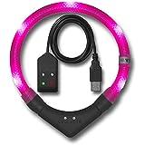 LED Leuchthalsband LEUCHTIE Plus Easy Charge hotpink Größe 50 einfach aufladbares LED Halsband