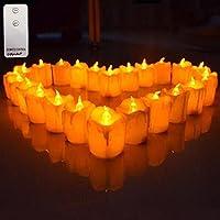 Giftgarden lot de 12 Lumières Bougies à LED avec télécommande, Sans Flamme, Effet fondu, réaliste et Bright, fausses Bougies électriques,décoration pour Votive, Anniversaire Mariage noel,meilleur cadeau, Jaune