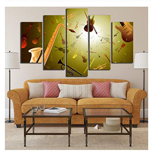 SHHSGZ 5 Panel Modern leinwand Drucken malerei hd Bilder und Plakat Wandbilder Musikinstrumente Trompete Violine Wand GemäldeWohnzimmer Wohnung Wohnkultur-200x100cm-Gerahmt