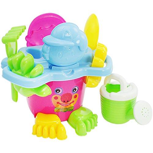 COM-FOUR® 11-teiliges Spielzeug-Set, Spieleset für Strand und Sandkasten in fröhlichen farben