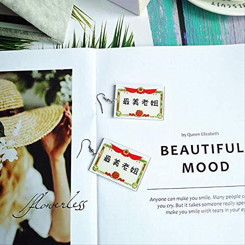 Creative Awards Series Fun Ohrringe Frauen, süße Text Ohrringe an Freunde, Mutters Geschenk Die schönste Schwester
