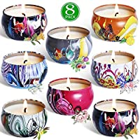 Meilo Scented Candles Gift Set-Aroma Soy Wax Candles with multi-fragrance, for Relaxation and Aromatherapy,2.5oz*8pcs
