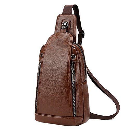 Yy.f Neue Herrentasche Herren-Ledertasche Brust Schulter Diagonal Multifunktionales Anti-Diebstahl-Tasche Praktische Interne Mehrfarbige Brown