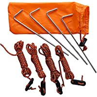 Yzki Tent Guy Ropes, 4 Pack Reflective Cord Tent Guide Rope with Adjuster & 4Pcs Tent Pegs, Fixed Tent, for Camping Hiking Mountaineering (as shown)
