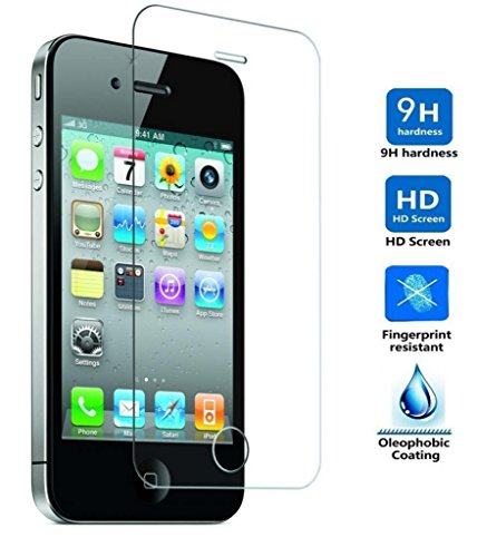 Protector de Pantalla para Iphone 4 / 4S Cristal Vidrio Templado Premium, Electrónica Rey
