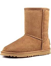 Shenduo Bottes femme cuir de mouton, Boots fourrées hiver Mi,mollet doublure chaude de