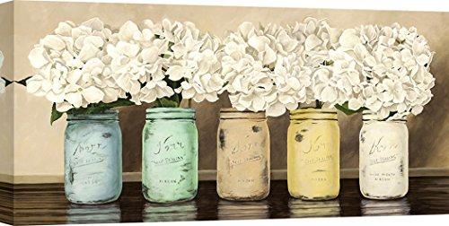 Art Print Cafe - Kunstdruck auf Leinwand - Blumen - Jenny Thomlinson, Hortensien in Mason Jars - 70x35 cm (Jars Blumen Mason In)