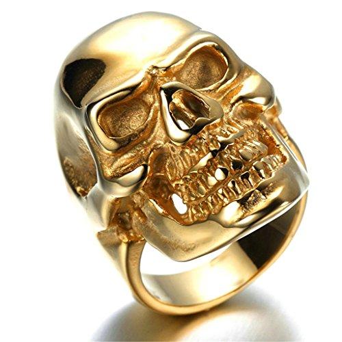 AieniD Anillo Hombre de Acero Inoxidable Cráneo Gótico Vintage Banda de Oro 20 x 30mm Tamaño 22