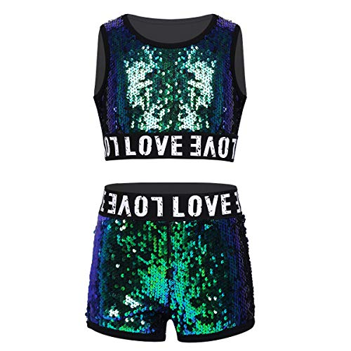 Mädchen Zweiteiler Glitzer Pailletten Kleidung Set Hip-hop Jazz Tanz Sport Performance-Kostüm Gymnastikanzug Gr.98-164 Grün 140-152/10-12Jahre ()