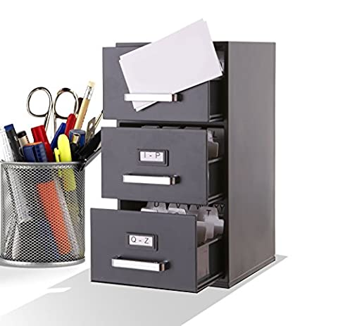 Business Card Filing Cabinet Mini Desktop - 9 inch High Black 3 Drawer Desktop Card Holder for Business Cards (85mm x