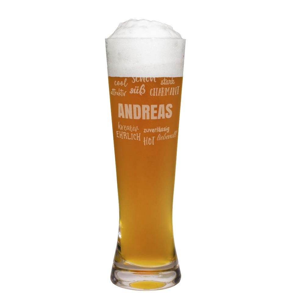 PrintPlanet® Weizenglas mit Namen Andreas graviert - Leonardo® Weißbierglas mit Gravur - Design Positive Eigenschaften 4