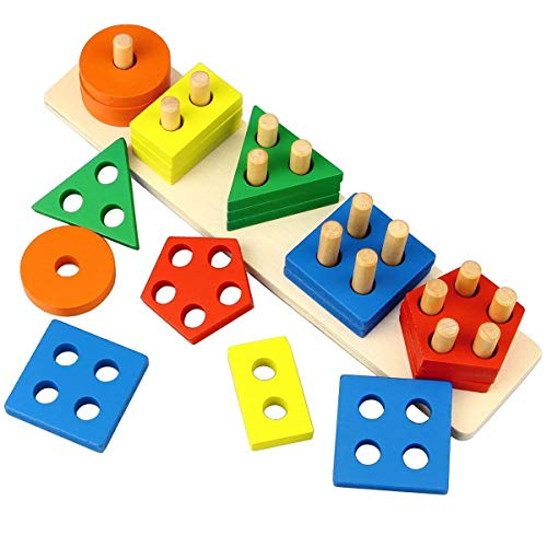 Kingwell Wooden Intellectual Geometric Shape Matching Five Column Blocks Educational & Learning Toys