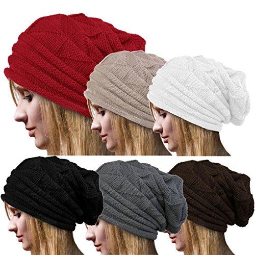Tongshi Crochet Invierno Mujeres Sombrero de lana Tejer Beanie Warm Caps (Gris)
