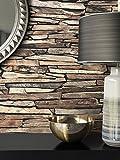 Steintapete Vlies Beige Edel | schöne edle Tapete im Steinmauer Design | moderne 3D Optik für Wohnzimmer, Schlafzimmer oder Küche inklusive NewroomTapezier-Profibroschüre, mit Tipps für perfekte Wände