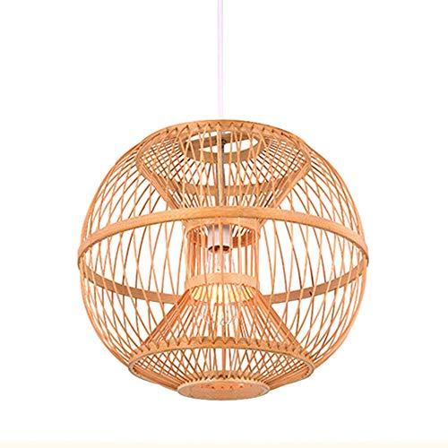 / Einfache Natürliche Pendelleuchten, Manuelle Weben Bambus Anhänger Beleuchtung Chinesischen Stil Deckenleuchte Restaurant Schlafzimmer Wohnzimmer Teehaus-Bambus 39x42 cm -