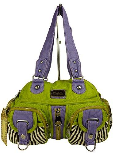 KUMIXI JESSY TP1410 Handtasche gestreift, Sommertasche versch. Farben 35x25x13cm (schwarz) grün apfelgrün