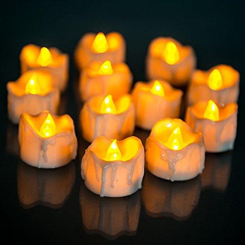 Candelabro de vela sin llama de 24 paquetes de energía realista móvil de Tealight para la celebración de temporada y el festival (ámbar)