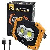 Portatile Lampada da Lavoro 20W, 6400mAh con Batteria Ricaricabile Integrata Lampade di ispezione,Ricaricabile LED COB Super luminoso luce Ispezione Torcia per Riparazione Auto, Garage, Emergenza