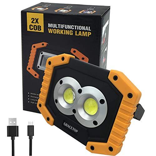 Portatile Lampada da Lavoro 20W, 6400mAh con Batteria Ricaricabile Integrata Lampade di ispezione,Ricaricabile LED COB Super luminoso luce Ispezione Torcia per Riparazione Auto, Garage, Emergenz