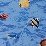 Fensterfolie Fische Adhesive - Klebefilm Buntglas Look 0,45 m x 2 m blau bunt