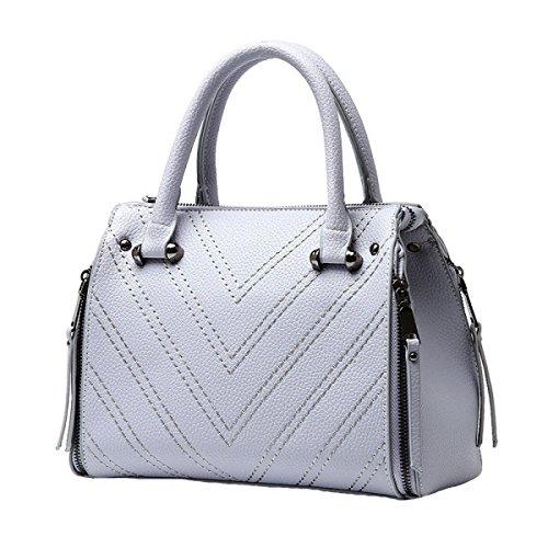Damen Retro Mode Handtasche Große Kapazität Niet Reißverschluss Messenger Bag Grey