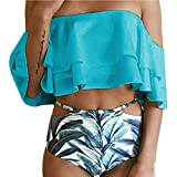 PINEsong Damen Bandeau High Waist Bikini Set Bademode Swimwear Sexy Off-Shoulder Swimsuit Beachwear weg von der schulter Tankini mit Volant Zweiteiler Badeanzug Strandmode (L, Rot)
