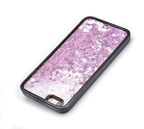 Bling Coque pour iPhone 5 / 5S (4,0 pouces),Sunroyal Liquide Crystal Transparent Clair 3D Flowing Briller Sparkles Diamant Coquille Soft TPU Silicone Glitter Shell Étui Bumper Dual Layer Transparent S Rose