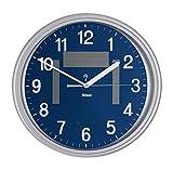 Mebus sans Fil-Solaire-Horloge Murale-Quartz analogique-Cadran Bleu - 52560
