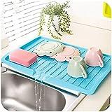 PDFans Plastik Geschirr Abtropfbrett für die Arbeitsfläche,Abtropfmatte Abtropfgestel Flip Abtropfablage,Dish Diraner Board,44.7CMX30.9CM (Blue)
