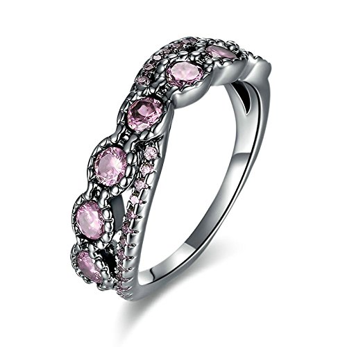 Vergoldet Ring Damen Kreuz Zirkonia Rosa Trauring Freundschaft Ring Größe 52 (16.6) ()