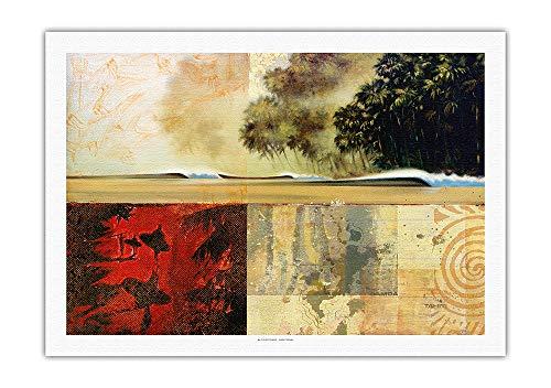 Pacifica Island Art - Surf Tagebucheintrag 41 - Tropische Wellen - Kunst Collage von Wade Koniakowsky - Leinwand Kunstdruck - 69 x 102 cm