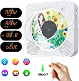 Lettore CD/DVD portatile, lettore CD/DVD musicale Bluetooth con montaggio a parete con HD 1080P HDMI, altoparlante HIFI incorporato, radio FM/USB/MP3, jack AUX da 3,5 mm, regali per la casa (Bianca)