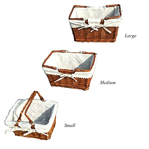 Z@SS Rattan Woven Picknickkorb Shopping Und Home Storage Korb Mit Baumwolle Liner Griff One Piece,Coffee,M