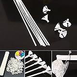Bastones de plástico para globos, 100 unidades, color blanco, con...