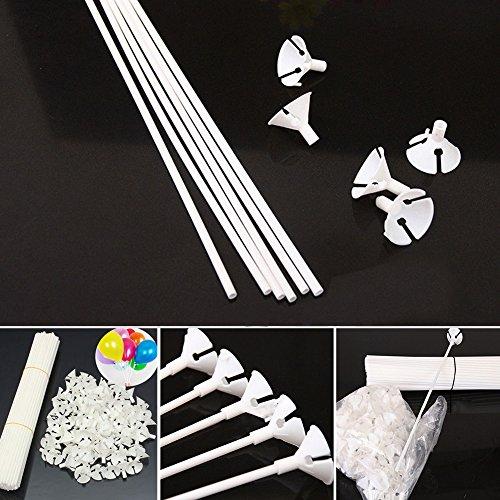 Kunststoff Ballon Halter Sticks. 100Stück weiß Ballon Sticks Halterungen mit Cups für Hochzeit, Party und Decor 32 cm weiß