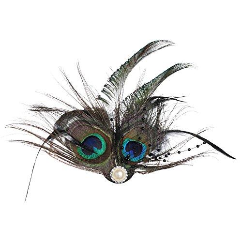 BABEYOND 1920s Flapper Haarspange Pfau Feder Damen Retro Fascinator Roaring 20er Elegant Haarschmuck Showgirl Haarclip Gatsby Stil Accessoires
