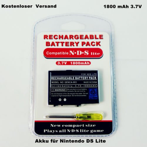 LS Premium Akku Batterie für Nintendo DS Lite 1800mAh 3.7V | Hochwertige Ersatzakku