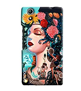 Omnam Girl With Close Eyes Face Printed Designer Back Cover Case For Micromax Selfie 2