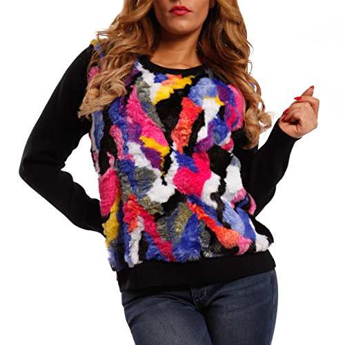 Damen Pullover mit Fellimitatbesatz Multicolor Schwarz