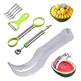 Angelbubbles Melonenschneider Wassermelone Messer 100% Edelstahl-304 + Anti-Rutsch-SAFE Kunststoffgriff (Silber)
