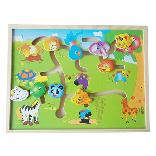 Youmiya Educational Logico en bois Labyrinthe Puzzles Avion Animal-body-match Maze Intelligence enfants Jouets