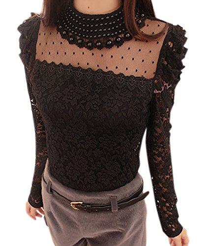 cooshional Damen Shirt Bluse mit Spitze Langarmshirt Spitzenshirt Top Hemd Oberteil