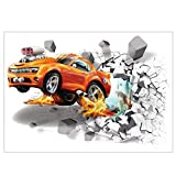 Wandaufkleber, Wandaufkleber, 3D Wandaufkleber Wand Poster Auto Muster Tür Poster Dreidimensionale dekorative Aufkleber für Schlafzimmer Salon