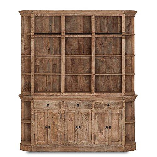 Bücherwand Holz massiv Mango 6 Türen 3 Schübe 24 Fächer 200x230cm - Giroux