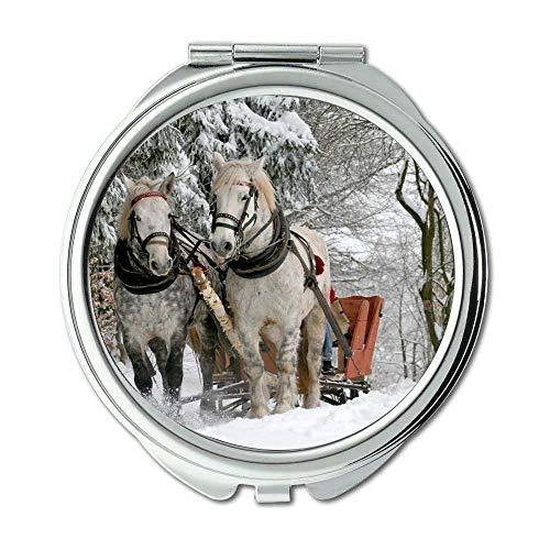 Yanteng Spiegel, Compact Mirror, Tiere Waldpferde, Taschenspiegel, tragbarer Spiegel