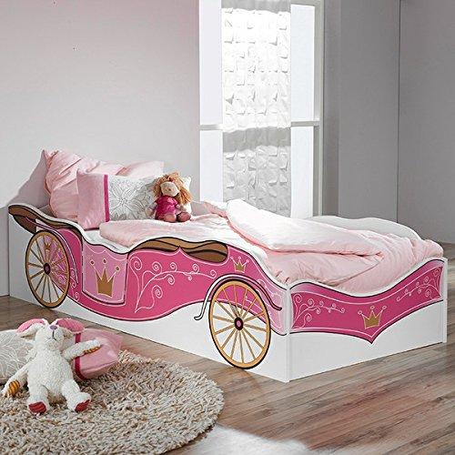 Kinderbett weiß pink 90*200 cm GS-geprüft Jugendzimmer Kinderzimmer Bett Kutschenbett Bettliege Mädchenbett Prinzessinenbett Jugendbett