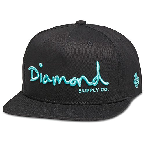 diamond-supply-co-mens-og-script-unstructured-sp17-snapback-hat-black