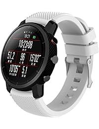 Malloom Reemplazo suave Silicagel deportes reloj banda correa para HUAMI Amazfit Stratos 2 Smart Watch (L,…