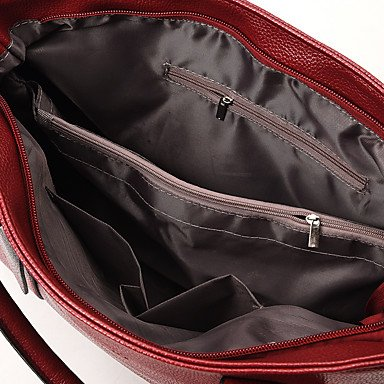La donna pu outdoor casual Tote,Nero Red